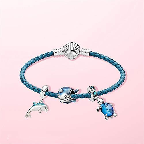 SONYYI Pulsera de cuero trenzado turquesa con hebilla de concha, joyería de regalo para hombre adecuada para la colección de joyas de mujer (longitud 17 cm)