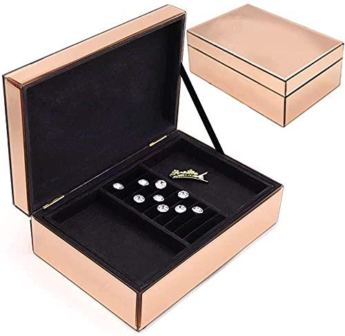 Recet Joyero para mujer, de cristal, de alta gama, para anillos, pulseras, pendientes (oro rosa)