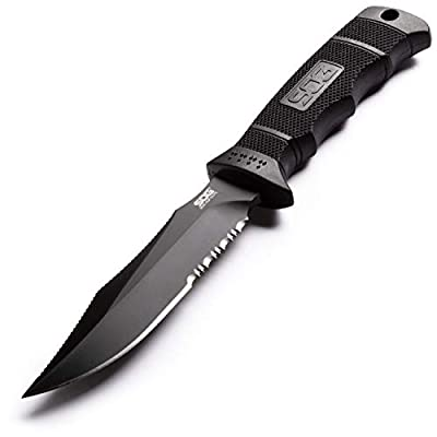 SOG Survival Knife with Sheath - SEAL Pup Elite Fixed Blade Tactical Knife, Hunting Knife and Military Knife w/ 4.75 Inch Combat Knife Blade (E37T-K)