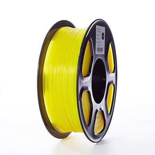 TOPZEAL Filamento stampante 3D, filamento PLA di colore trasparente serie 1,75 mm, precisione dimensionale +/- 0,02mm, bobina 1KG per stampante 3D e penna 3D (Transparent-Yellow)