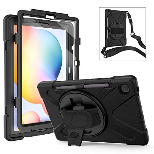 Galaxy Tab S6 Lite Case with Screen Protector | TSQ Heavy Duty Hard Rugged Protective Case with 360 Rotating Stand/Hand Shoulder Strap for Samsung Galaxy Tab S6 10.4 Model SM-P610/P615 2020 | Black
