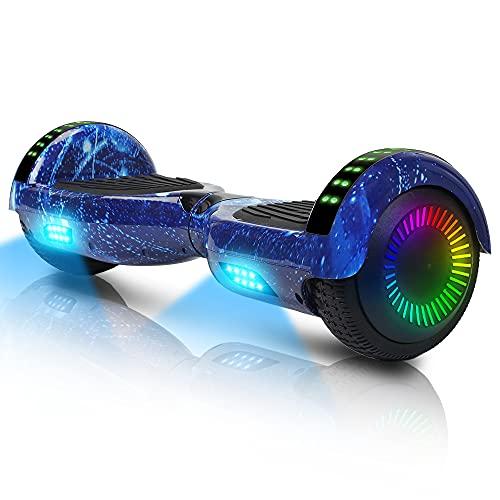 Hoverboard-Hoverboard para niños, aerotabla autoequilibrante de Dos Ruedas de 6.5 Pulgadas, con Bluetooth y Luces Intermitentes LED, Adecuado para niños de 6 a 12 años (Estrella Azul)
