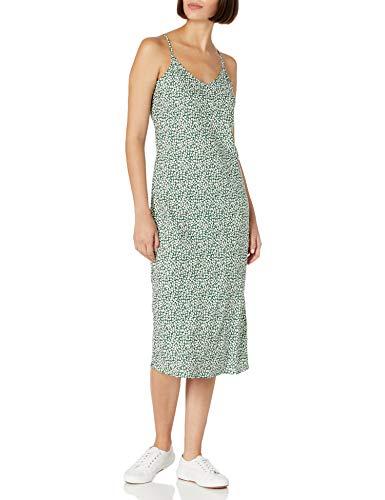 Daily Ritual Georgette Slip Dresses, Green Vine Leaf Print, US M (EU M - L)