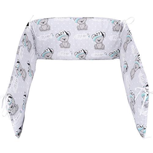 E4M® - Protector chichonera antigolpes para cuna de bebé, 3 lados, 210 x 30 cm, doble relleno hipoalergénico de algodón, certificado Oeko-Tex®, fabricado en la UE KOALA