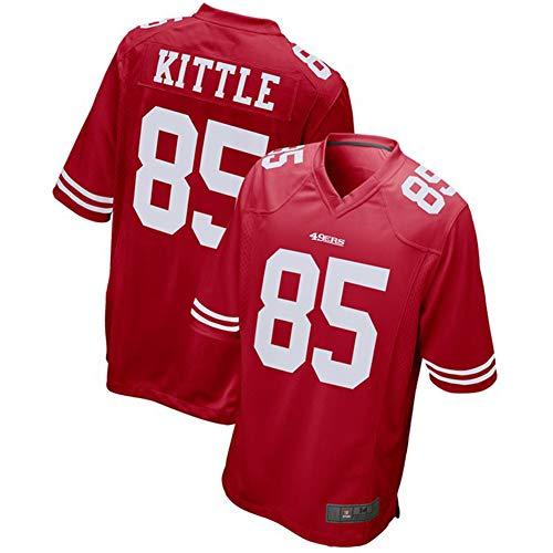 85# George Kittle San Francisco 49er Rugby-Trikot Fußballtrikot Für Herren-Sportler Jersey Polo-Shirt Sportswear Mesh Schnelltrocknendes Langarm-Fansweatshirt-red-XL