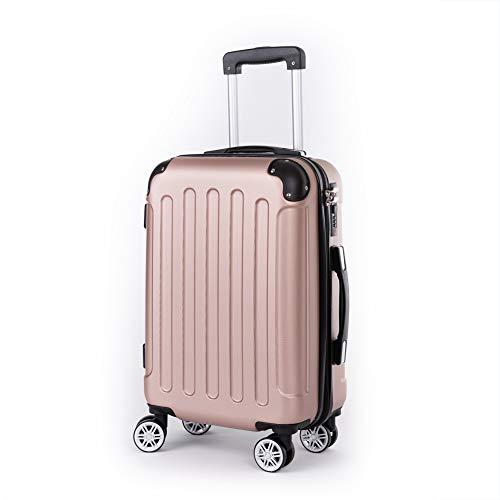 Beibye - Juego de maletas rígidas (4 ruedas, A13, M-L-XL) Rosa Rosagold medium