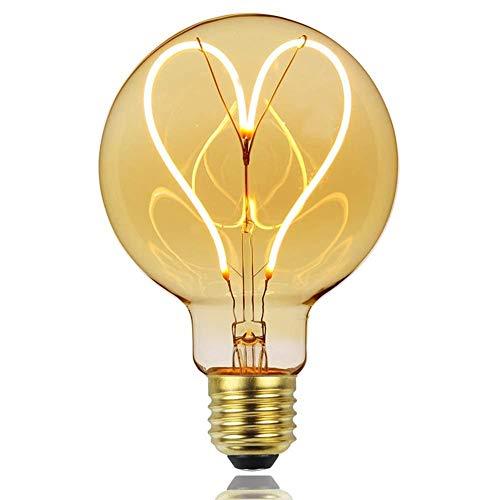 fancyU Bombilla Retro Edison, Lámparas LED Vintage Regulables, Lámpara De Filamento Suave Regulable G95 E27 Bombilla Decorativa 110V / 220V 4W Bombilla De Filamento En Forma De Corazón