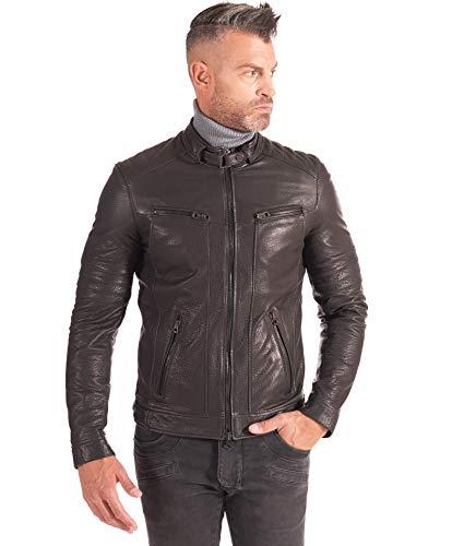 D'Arienzo Roberto - Chaqueta de piel arrugada negra para hombre, acolchada, para moto, de piel auténtica, fabricada en Italia Negro 44