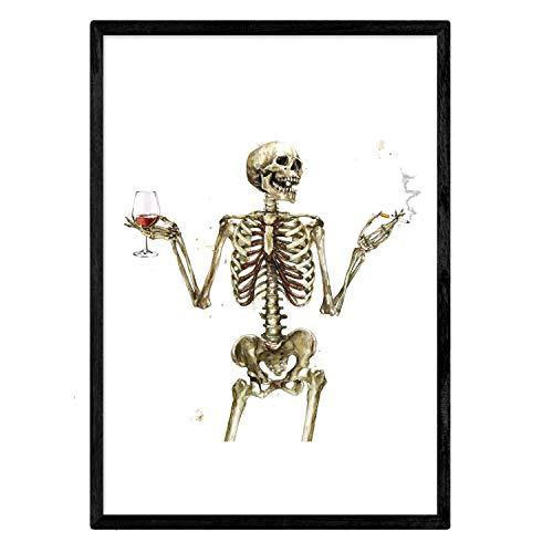 Nacnic Lámina Chico Esqueleto Bebiendo Vino. Posters con imágenes de Calaveras. Tamaño A3 sin Marco