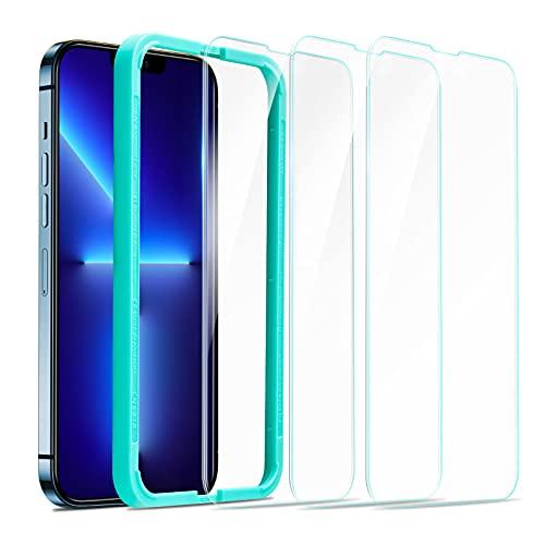 ESR 3 Stück Bildschirm Schutzfolie Kompatibel mit iPhone 13 Pro Max mit Praktischer Positionierhilfe, 9H Festigkeit, HD Klare Panzerglas Bildschirmschutzfolie