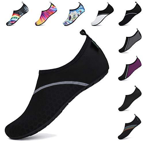 SAGUARO Zapatos Agua Mujer Zapato Calcetin Hombre Deporte Natación Zapatos de Verano Unisex Escarpines Agua Yoga Negro A 42/43 EU