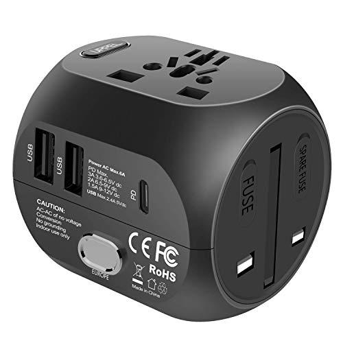 Universal Reiseadapter Stecker Steckdosenadapter mit 2 USB und PD Ladeanschlüssen Quick Charge für EU AU Asien USA UK mehr als 150 Länder und für Tablet PC,Smartphones,Digitalkameras und MP3 Player
