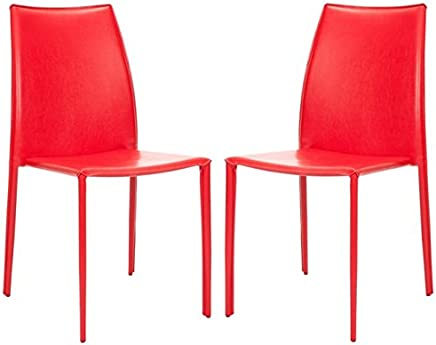 Safavieh Home Collection Aubrey Modern Red Leather Side Chair (Set of 2)