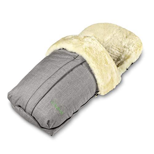 Fellhof Lammfell-Fußsack Cortina, OEKO-TEX® Standard 100 zertifiziert, 45x97 cm, wind- und wasserdicht, waschbar bis 30°C, Öffnung am Fußende (black melange)