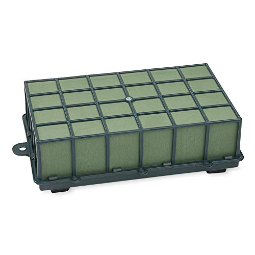 FloraCraft Floral Cage Arranger with Floral Wet Foam 3.75 Inch x 7 Inch x 12.75 Inch Green