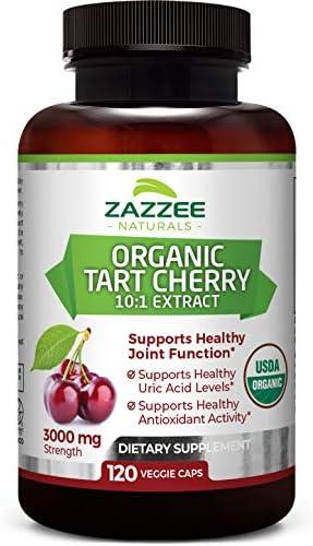 Zazzee USDA Organic Tart Cherry Extract 120 Vegan Capsules 3000 mg Strength Potent 10 1 Extract product image