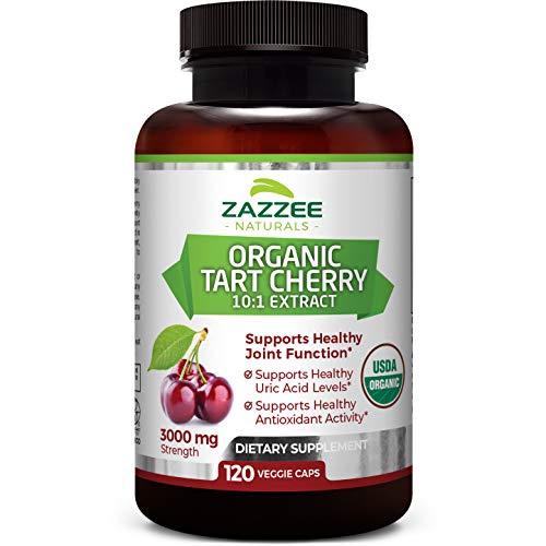 Zazzee USDA Organic Tart Cherry Extract, 120 Vegan Capsules, 3000 mg Strength, Potent 10:1 Extract, USDA Certified Organic, Non-GMO and All-Natural