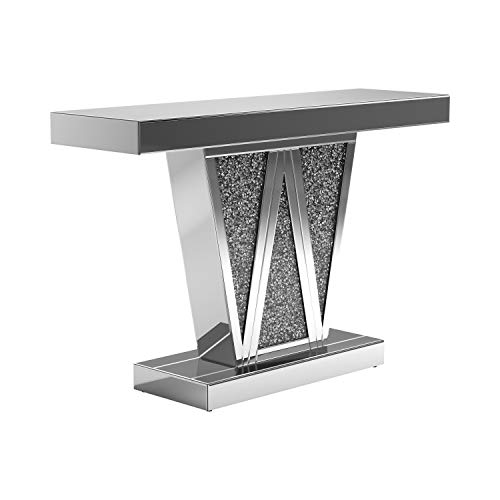 Coaster Home Furnishings Rectangular Silver Console Table, Chrome and Grey