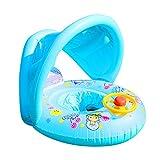Srliya Boya de vida infantil, boya salvavidas, inflable para bebé, flotador de piscina, anillo de natación con volante y sombra para niños de 1 a 4 años (azul)