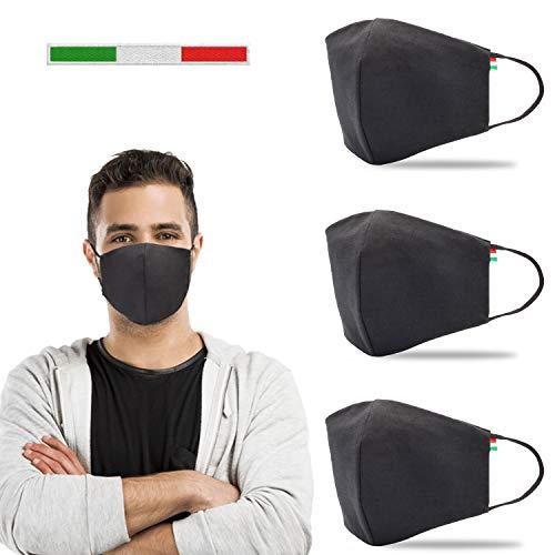 X3 PZ MADE IN ITALY - Mascherina Lavabile, Mascherine Lavabili, Mascherina Cotone, Mascherina Nera, Copertura protettiva in tessuto riutilizzabile e regolabile con tasca per filtro antipolvere