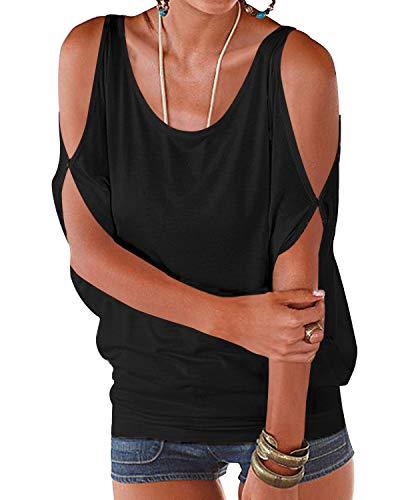 YOINS Camicia Donna Estivo Maglietta Manica Corta Bluse Spalle Scoperte Maniche a Pipistrello Top Casuale Rotondo T-Shirt Nero XXL