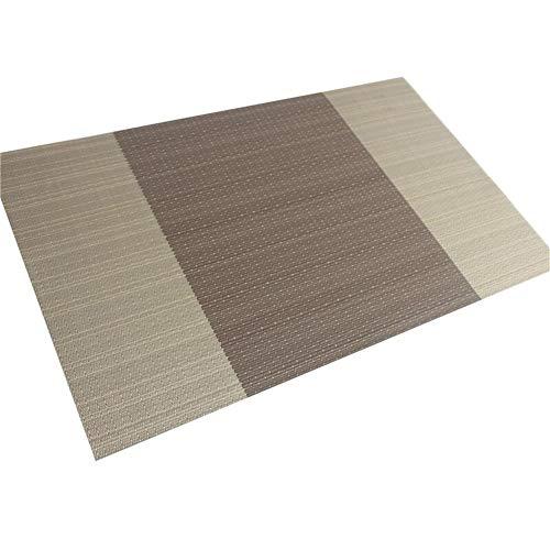 LZFLZ 4 Teile/Los Abendessen Tischset PVC Esstisch Matte Disc Pads Schüssel Pad Untersetzer wasserdichte Tischdekor Tuch Pad rutschfeste Pad (Color : Brown)