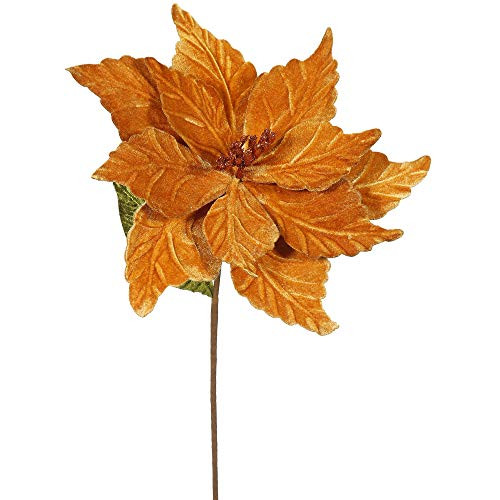Vickerman QG162728 Poinsettia with 12' Flower Head & Paper wrapped wire Stem in 6/Bag, 22', Copper