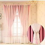 Cortina opaca de doble capa aislamiento térmico,cortina jacquard bordada ventana,Moderno TérmicasAislantes frio y calor,para Habitacion Infantil,salón,niña dormitorio,con Ojalas-1 Pcs(Beige,rosa)
