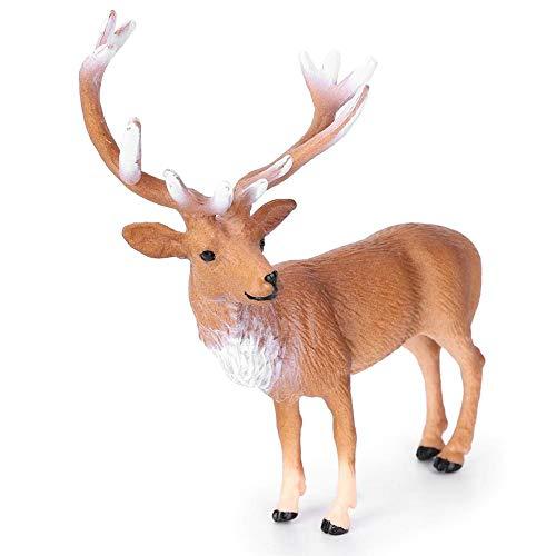 Zerodis Figura de Ciervo Rojo Macho, Alta simulación Animal Estatua Modelo Educativo Aprendizaje temprano Juego cognitivo decoración del hogar para niños niñas