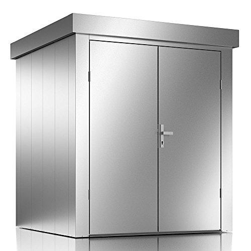 ILESTO Casetta per Il Giardino Johnny | Armadio da Esterno Porta-Attrezzi & Porta-Scope a Due Ante – Colore: Argento Metallico | Misure: 190x190x213 cm