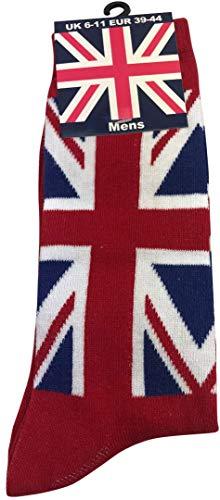 British Heritage Brands Socks Uwear - Calzini da uomo con bandiera inglese, colore: Rosso