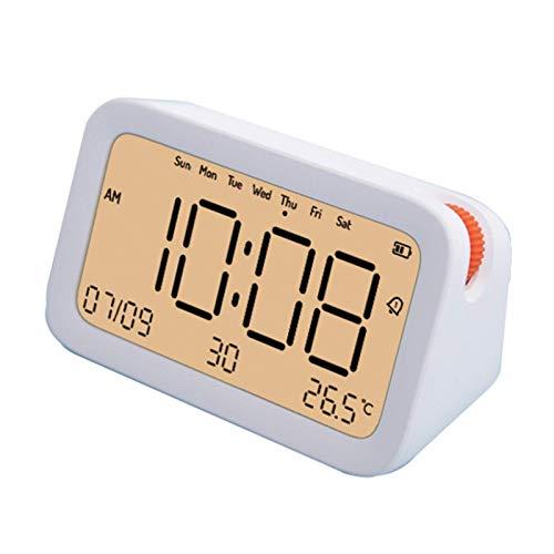 Reloj Despertador Digital, Temporizador con 3 Relojes despertadores, Reloj Temporizador Inteligente con Bluetooth, 12/24 Horas, Temperatura, Fecha, Visualización de la Semana, Función de repetición,