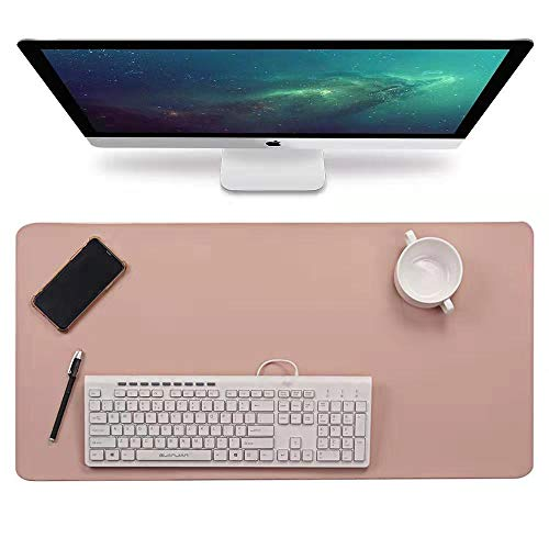 """Multifunctional Office Desk Pad, 31.5"""" x 15.7"""" Waterproof PU Leather Mouse Pad/Mat, Laptop/Computer Desk Mat, Antiskid Desk Writing Mat for Office/Home(Pink)"""