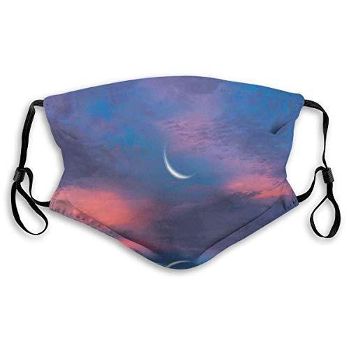 YYTT8 Gesichtsbedeckung Mundschutz Surrealer Himmel mit Wasseroberfläche und Halbmond-Fantasie-Farben-Landschaftsbild