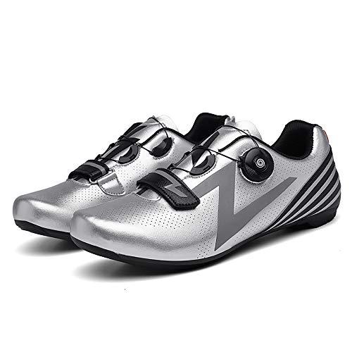 LU-Model Zapatillas de Ciclismo para Carretera Plus, con Suela de Carbono y Sistema rotativo de precisión. Silver-47
