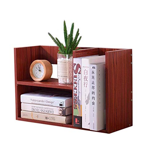AFDK Regale Desktop Bücherregal Holz Desktop Aufbewahrungsbox Studentengebrauch Bürobedarf Holzständer, 4 Farben,Mahagoni