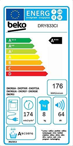Beko DRY833CI Libera installazione Carica frontale 8kg A+++ Bianco asciugatrice