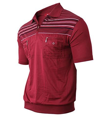 Soltice Herren Kurzarm Gestreifte Poloshirts, Polohemden, Blousonshirts mit Knopfleiste aus hochwertiger Baumwolle (M bis 3XL) (L, [B] Bordeaux)