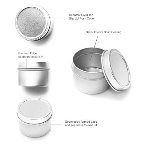 Mimi Pack 6 oz Round Tin Cans Deep Solid Top Lid Steel Containers For Spices, Candy Favors, Balms, Gels, Candles, Gifts, Storage 24 Pack (Gray)