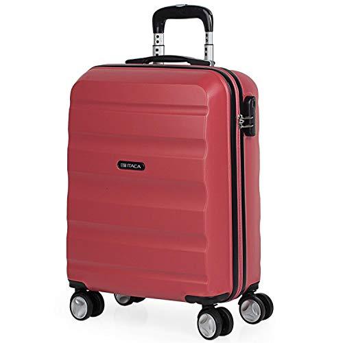 ITACA - Maleta de Viaje 55x40x20 cm Cabina Trolley ABS. Equipaje de Mano. Rígida, Resistente y Ligera. Mango, 2 Asas y 4 Ruedas. Vuelos Low Cost Ryanair, Candado Integrado. T71650, Color Coral