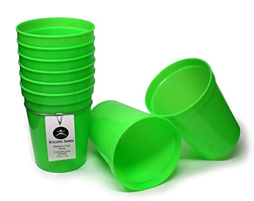 Rolling Sands 16 Ounce Reusable Plastic Stadium Cups Lime Green, 8 Pack, Made in USA, BPA-Free Dishwasher Safe Plastic Tumblers
