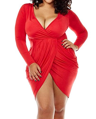 POSESHE Womens Plus Size Deep V Neck Bodycon Wrap Dress with Front Slit Red XX-Large