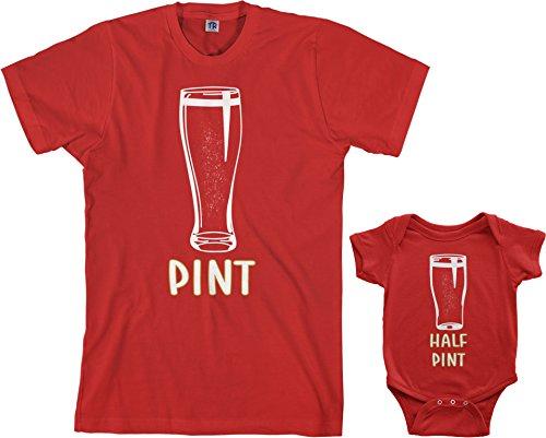Threadrock Pint & Half Pint Infant Bodysuit & Men's T-Shirt Matching Set (Baby: 12M, Red Men's: 2XL, Red)
