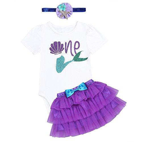 iiniim Bebé Niñas 3Pcs Primer 1 Año Cumpleaños Ropa Conjunto Patrón Sirena Vestido Princesa para Primer Cumpleaños Bebés Recién Nacido Tutú con Diadema Infantil 6-18 Meses Morado 12-18 Meses