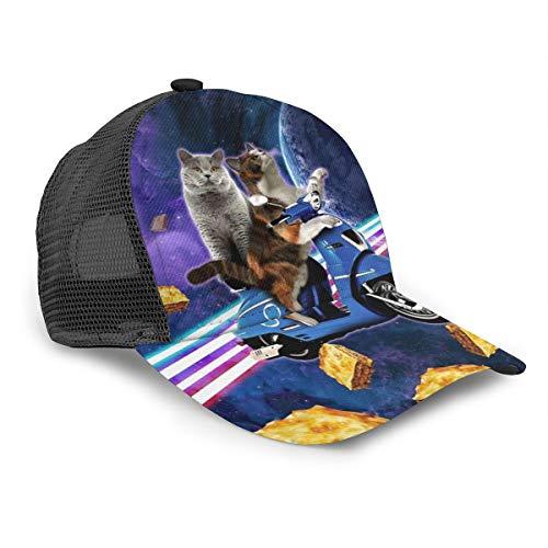 Unisex Baseballkappe Katze Reiten Roller Reise mit Space Lazer Galaxy Caps Trucker Hut Sommer Sonne Sport Outdoor Snapback Hats Schwarz