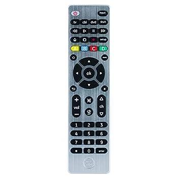 GE Universal Remote Control for Samsung Vizio LG Sony Sharp Roku Apple TV TCL Panasonic Smart TVs Streaming Players Blu-ray DVD 4-Device Silver 33709