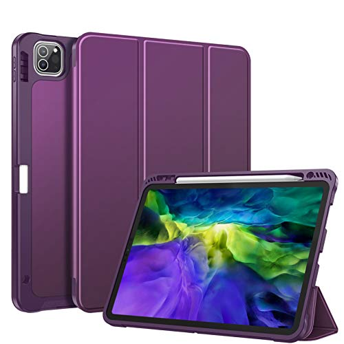 FINTIE SlimShell Case for iPad Pro 11' 2020/2018 with Pencil Holder [Supports 2nd Gen Pencil Charging Mode] - Smart Stand with Flexible Soft TPU Back Cover, Auto Wake/Sleep, Purple