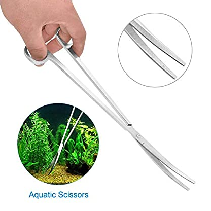 Dokpav Stainless Steel Aquarium Tools Kit 5 in 1 Fish Tank Cleaner Aquascape Tools Aquatic Plant Aquascaping Tweezers Scissors Tongs Algae Scraper Set 5