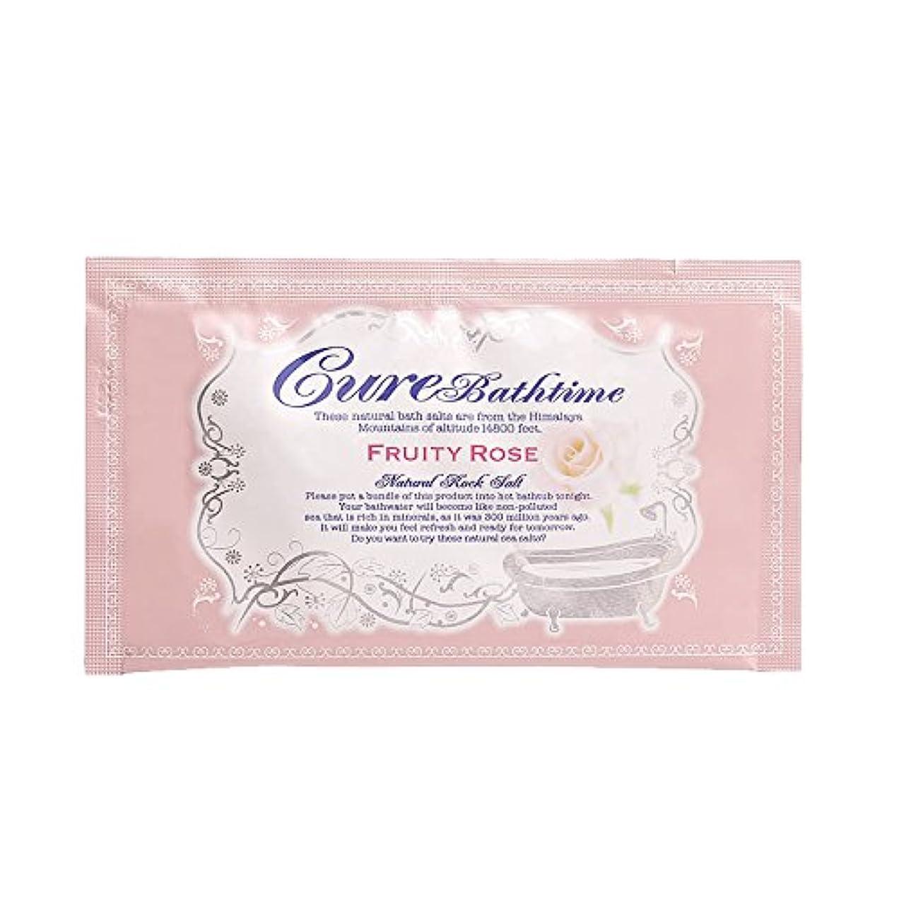レンチ罰回答Cureバスタイム 天然ヒマラヤ岩塩バスソルト フルーティローズの香り 16包セット