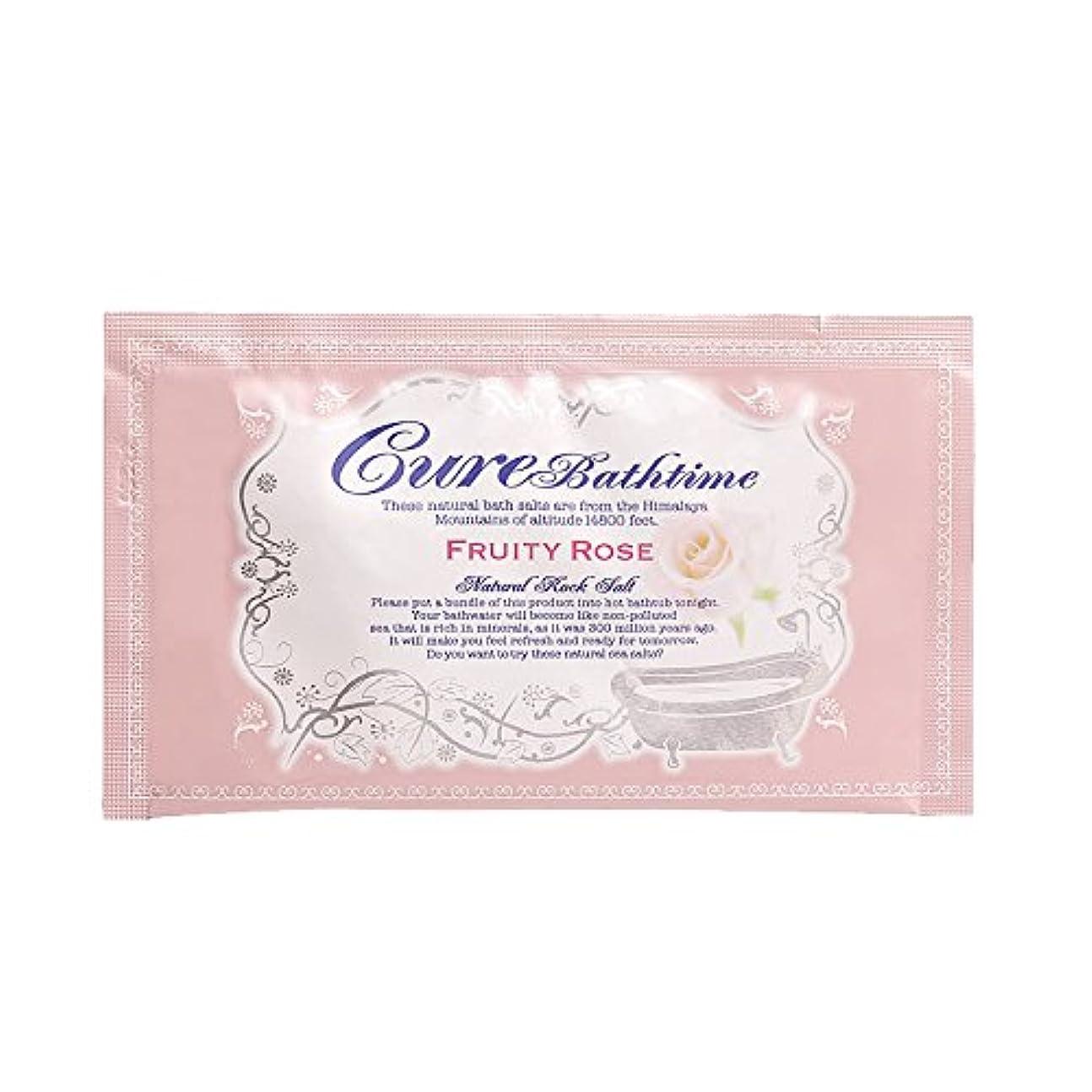 想定する郡リスナーCureバスタイム 天然ヒマラヤ岩塩バスソルト フルーティローズの香り 16包セット